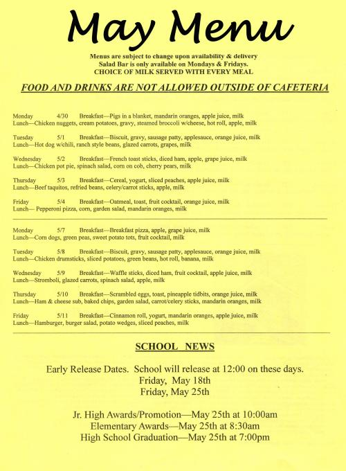 May Cafeteria Menu, page 1