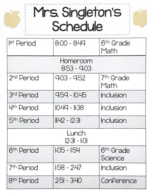 Mrs. Singletno's schedule