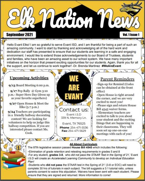 Elk Nation Newsletter; Sept p.1