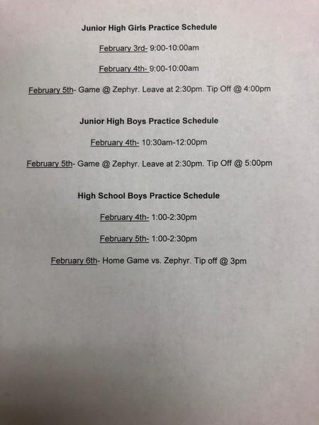 Januay -Feb 8 BB Covid Schedule