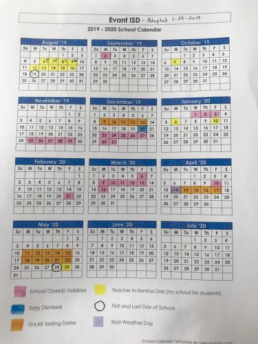 2019-2020 approved calendar