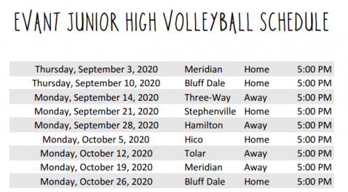 JH Volleyball Schedule 2020