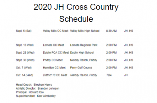 JH Cross Country Schedule 2020