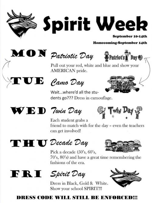 Updated Spirit Week Dress Up. Reflects a change on Mon&Tues