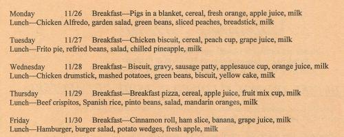 November cafeteria menu page 2