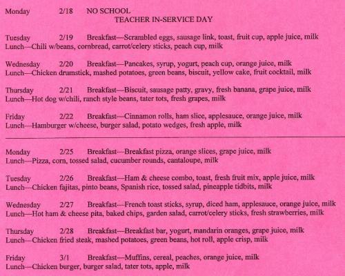 February Cafeteria Menu-Page2