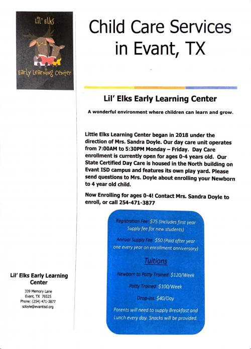 Lil Elks Learning Center Flyer with Rates 2020