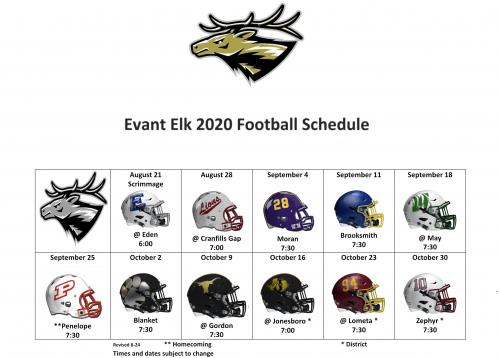 2020 HS Football Schedule UPDATED