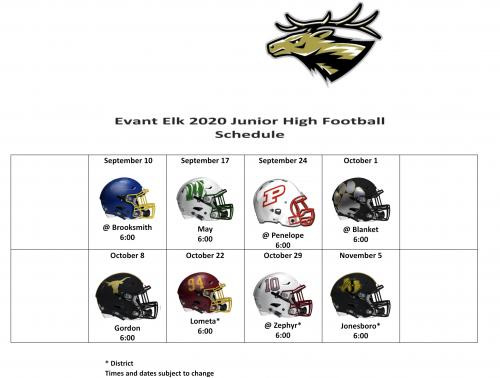 2020 JH Football Schedule image