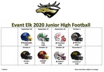 Junior High Football Schedule