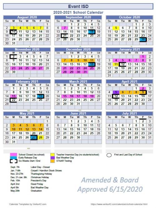 Updated 2020-2021 school calendar image