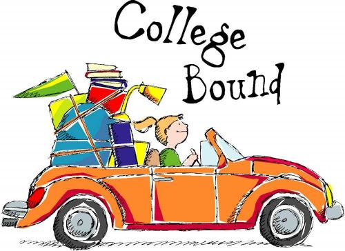 College bound clipart of student driving a car with luggage in it