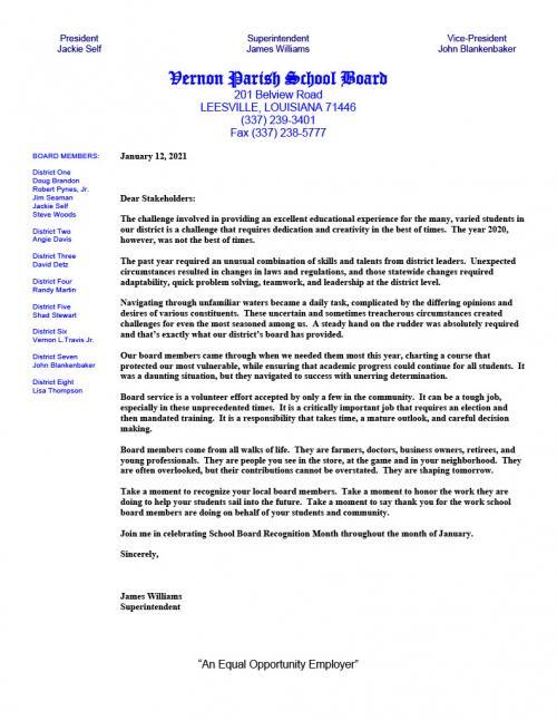 Superintendent's Letter