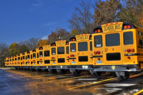 Buses in a parking lot in autum.