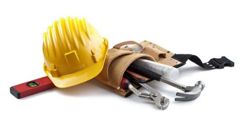 Picture of construction tools and hardhat