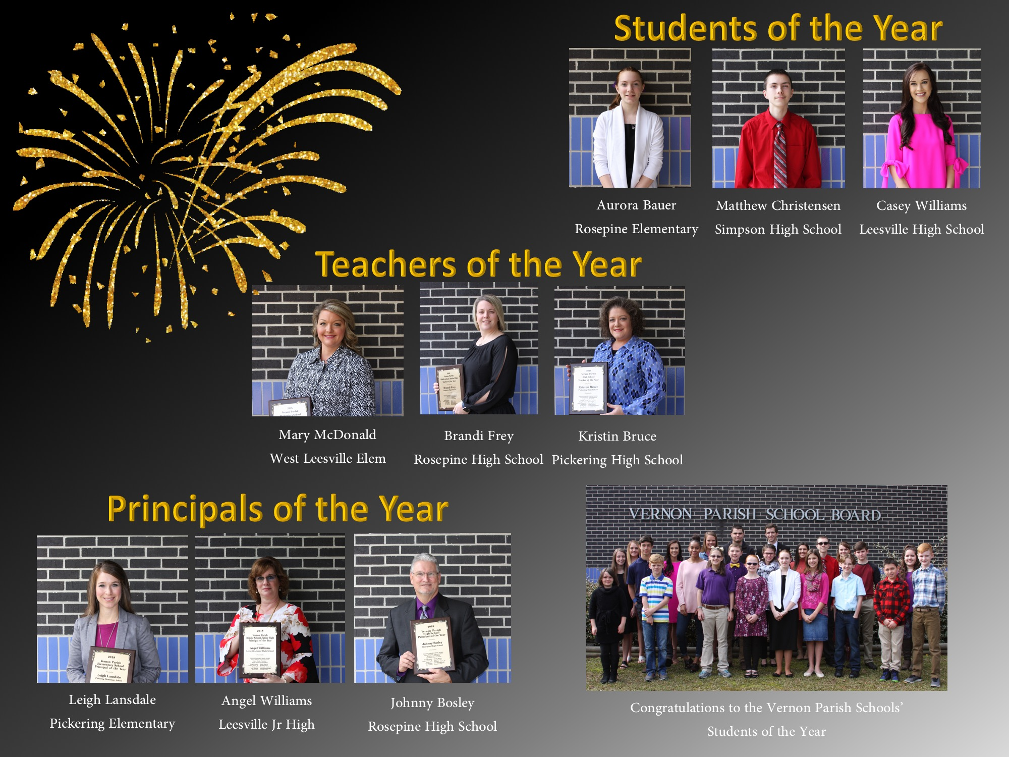 Students, teachers, and principals of the year photographs .