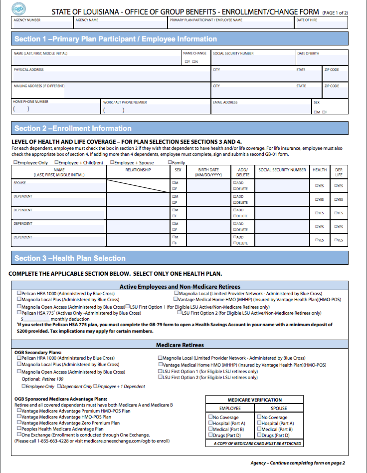 Office of Group Benefits Enrollment/Change Form