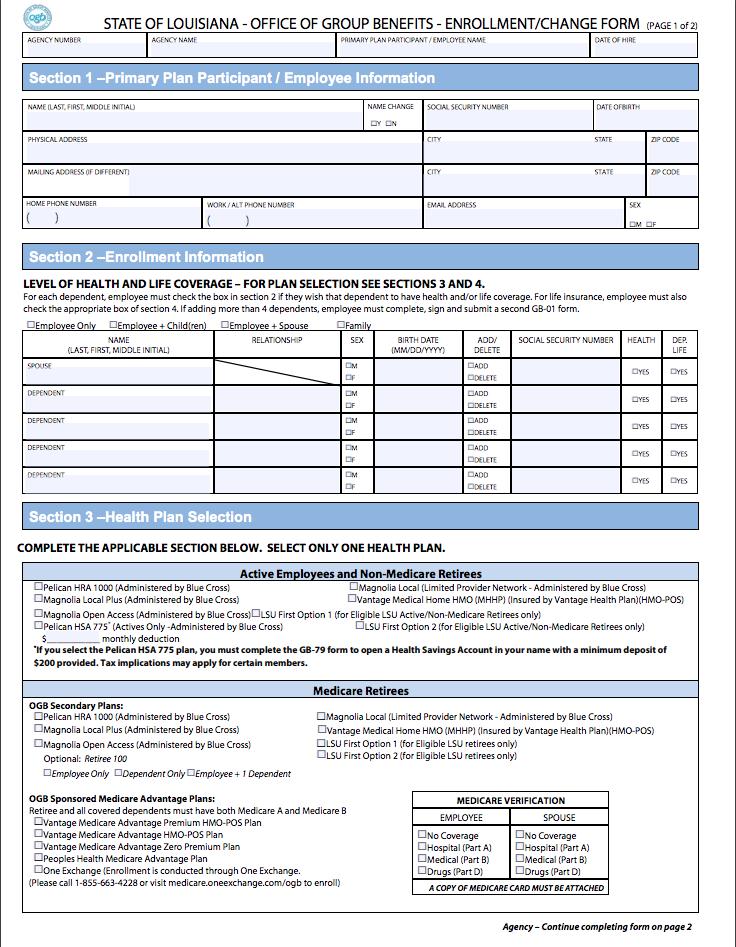 Office of Group Benefits Enrollment/Change Form