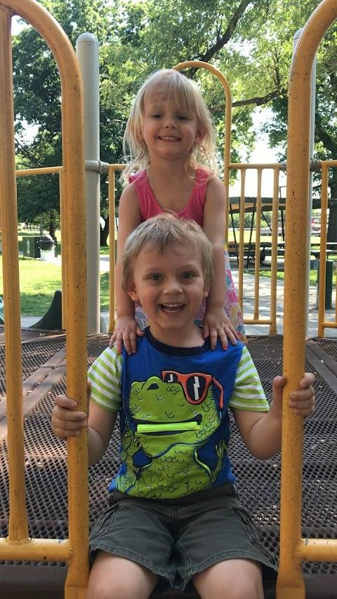 My two grandbabies enjoying some time together at the park.
