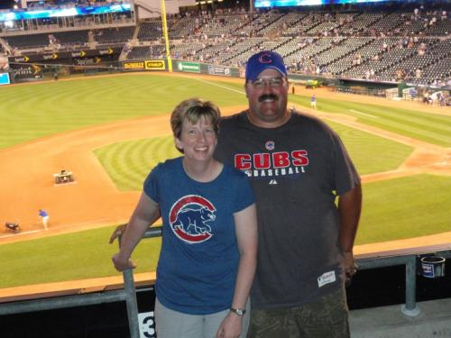 Mr. and Mrs. Barnes at Cubs game
