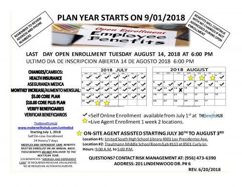 schedule of benefits for 2018-2019 school year