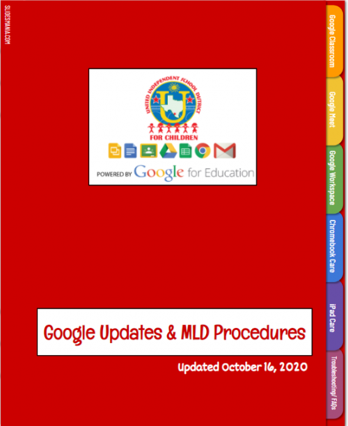 red google slide binder with google updates