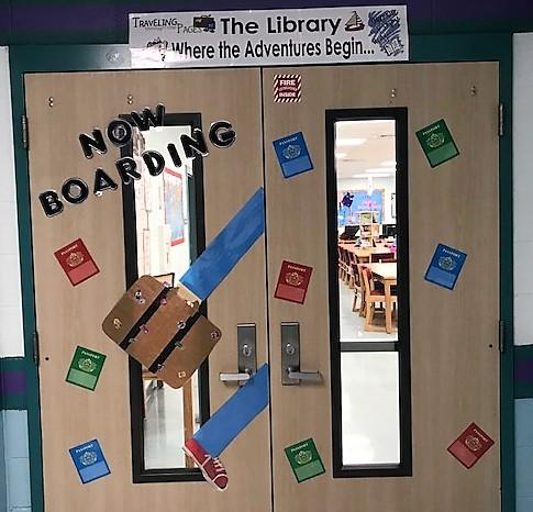 Now Boarding Library Doors Adventure Display