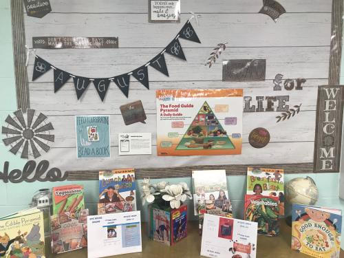 Read for Life bulletin board with health books and information.