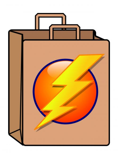 brown paper bag with lighting bolt on it