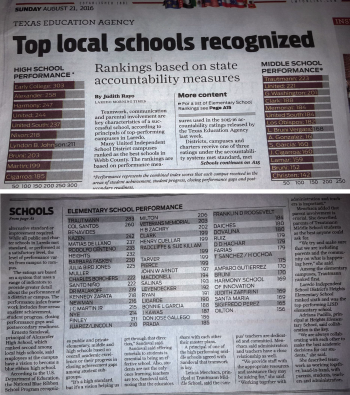 Juarez-Lincoln Elem was listed among the BEST elementary schools in Webb County