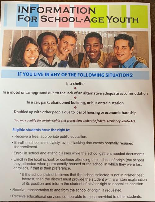 Homelessness - Information for for School-Age Youth