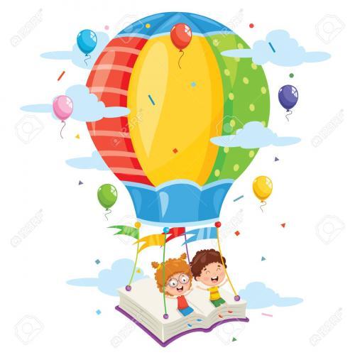 Kids on hot air balloon