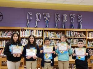 5th Grade Spelling Bee Participants (L-R): Sophia Moreno, Chloey Tovar, Rafael Mendoza, Isabella Varela, and Gerardo Jalomo