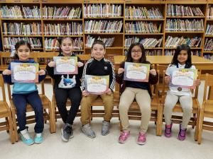 2nd Grade Spelling Bee Participants (L-R): Amanda Martinez, Julissa Galeazzi, Jayden Chapa, Violet Esquivel, and Keira Rendon 2nd Grade Champion: Keira Rendon