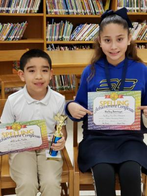 Congratulations to Killam's Spelling Bee Champion and 1st Place Runner-Up!