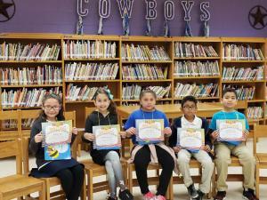 3rd Grade Spelling Bee Participants (L-R): Hailey Trejo, Arabella Gonzalez, Ivanna Rivas, Jose Mendoza, and Joel De La Garza