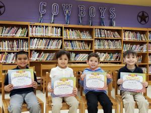 Kinder Spelling Bee Participants (L-R): Esai Rendon, Daniela Hernandez, Zarek Peña, and Liam Cardenas Kinder Champion: Esai Rendon
