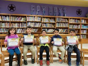 1st Grade Spelling Bee Participants (L-R): Gizelle Cortez, Gabriel Benavides, Roel Gonzalez, Jonathan Brizuela, and Dylan Dominguez 1st Grade Champion: Roel Gonzalez
