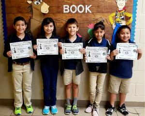 2nd Grade: (L to R) 2nd Place - William Gomez, Emma Olivo, 1st Place - Gabriel Benavides, 3rd Place - Camila Robles, Mason Dover