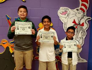 4th & 5th Grade Winners: (L to R) 2nd Place - Hector Hinojosa, 1st Place - Raul Gutierrez, 3rd Place - Jose Mendoza