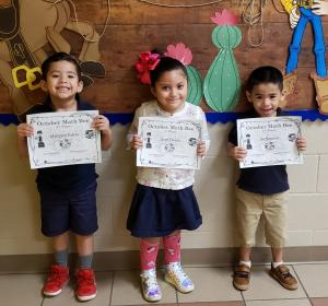 Pre-K AM: (L to R) 3rd Place - Matthew Palizo, 1st Place - Love Flores, 2nd Place - Ian Bautista