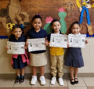 Kinder: (L to R) Zianna Mendez, 3rd Place - Ashley Maldonado, 1st Place - Mateo Robles, 2nd Place - Alezae Sanchez