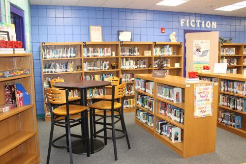 Library book shelves.