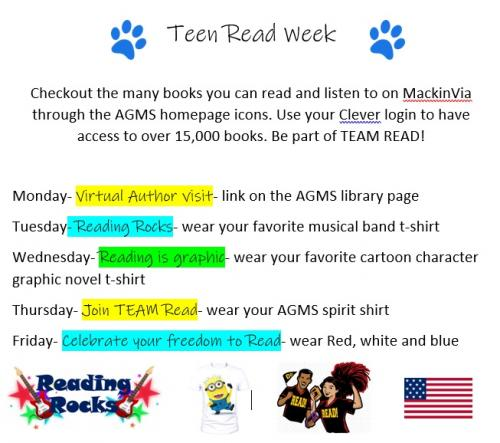 Teen Read Week daily themes.