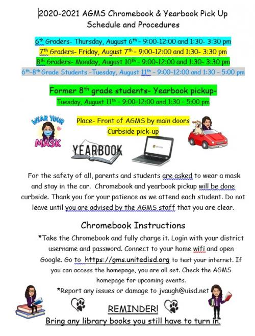 Chromebook and Yearbook Pick up Schedule and Procedures