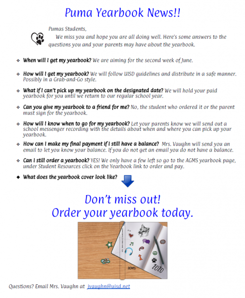 Yearbook information.