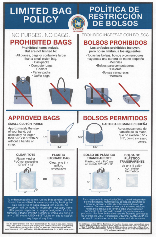 UISD bag policy.