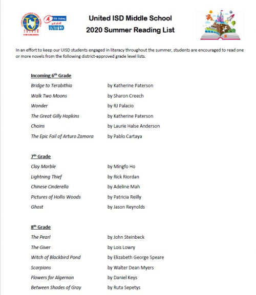 Middle School Summer Reading List