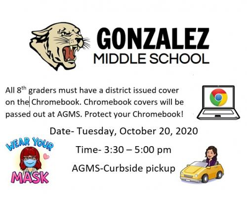 Chromebook cover distribution on Tuesday, October 20, 2020 from 3:30-5:00 pm.