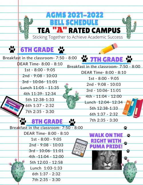 21-22 School Bell Schedule